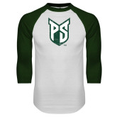 White/Dark Green Raglan Baseball T-Shirt-Official Logo Distressed