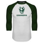 White/Dark Green Raglan Baseball T-Shirt-Grandpa