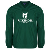 V Neck Dark Green Raglan Windshirt-PS Shield Stacked