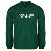 V Neck Dark Green Raglan Windshirt-Portland State