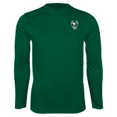 Syntrel Performance Dark Green Longsleeve Shirt-Viking Head