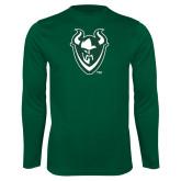 Performance Dark Green Longsleeve Shirt-Viking Head