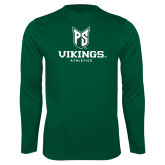 Performance Dark Green Longsleeve Shirt-PS Shield Stacked