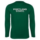 Performance Dark Green Longsleeve Shirt-Portland State