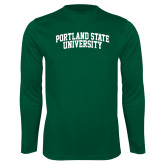 Performance Dark Green Longsleeve Shirt-Arched Portland State