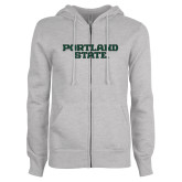 ENZA Ladies Grey Fleece Full Zip Hoodie-Portland State