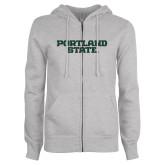 ENZA Ladies Grey Fleece Full Zip Hoodie-Portland State
