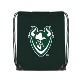 Dark Green Drawstring Backpack-Viking Head