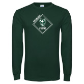 Dark Green Long Sleeve T Shirt-Portland State Sign Design