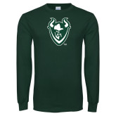 Dark Green Long Sleeve T Shirt-Viking Head