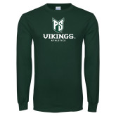 Dark Green Long Sleeve T Shirt-PS Shield Stacked