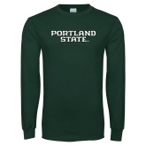 Dark Green Long Sleeve T Shirt-Portland State