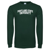 Dark Green Long Sleeve T Shirt-Arched Portland State