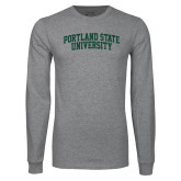 Grey Long Sleeve T Shirt-Arched Portland State