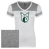 Ladies White/Heathered Nickel Juniors Varsity V Neck Tee-Official Logo