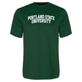 Performance Dark Green Tee-Arched Portland State