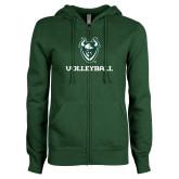 ENZA Ladies Dark Green Fleece Full Zip Hoodie-Volleyball