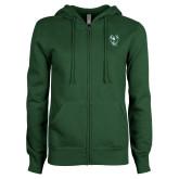 ENZA Ladies Dark Green Fleece Full Zip Hoodie-Viking Head