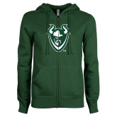 ENZA Ladies Dark Green Fleece Full Zip Hoodie-Viking Head