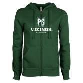 ENZA Ladies Dark Green Fleece Full Zip Hoodie-PS Shield Stacked