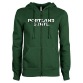 ENZA Ladies Dark Green Fleece Full Zip Hoodie-Portland State
