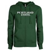 ENZA Ladies Dark Green Fleece Full Zip Hoodie-Portland State