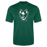 Performance Dark Green Heather Contender Tee-Viking Head