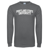 Charcoal Long Sleeve T Shirt-Arched Portland State