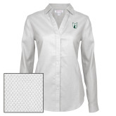 Ladies Red House Diamond Dobby White Long Sleeve Shirt-Official Logo