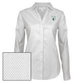 Ladies Red House Diamond Dobby White Long Sleeve Shirt-Official Logo