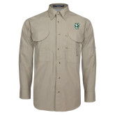Khaki Long Sleeve Performance Fishing Shirt-Viking Head