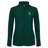 Ladies Fleece Full Zip Dark Green Jacket-Viking Head