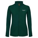 Ladies Fleece Full Zip Dark Green Jacket-Portland State