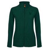 Ladies Fleece Full Zip Dark Green Jacket-Official Logo Tone