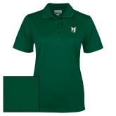 Ladies Dark Green Dry Mesh Polo-Official Logo
