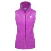 Columbia Ladies Full Zip Lilac Fleece Vest-Official Logo Tone