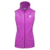 Columbia Ladies Full Zip Lilac Fleece Vest-Official Logo Tone