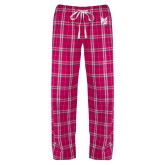 Ladies Dark Fuchsia/White Flannel Pajama Pant-Official Logo Tone