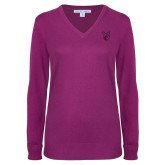 Ladies Deep Berry V Neck Sweater-Official Logo Tone
