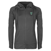 Ladies Sport Wick Stretch Full Zip Charcoal Jacket-Viking Head