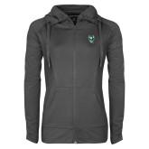 Ladies Sport Wick Stretch Full Zip Charcoal Jacket-Viking Head