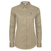 Ladies Khaki Twill Button Down Long Sleeve-Official Logo