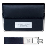 Business Card Case and Key Ring Set Black-Portland State Engraved