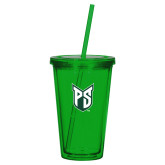 Madison Double Wall Green Tumbler w/Straw 16oz-Official Logo