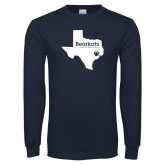 Navy Long Sleeve T Shirt-Bearkats Texas