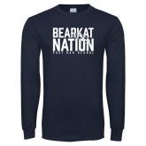 Navy Long Sleeve T Shirt-Bearkat Nation
