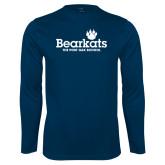 Performance Navy Longsleeve Shirt-Bearkats