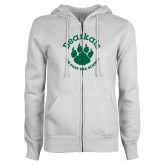 ENZA Ladies White Fleece Full Zip Hoodie-Paw Logo