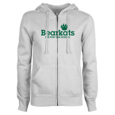 ENZA Ladies White Fleece Full Zip Hoodie-Bearkats