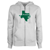 ENZA Ladies White Fleece Full Zip Hoodie-Bearkats Texas